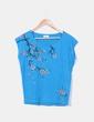 Camiseta azul floral Pull&Bear