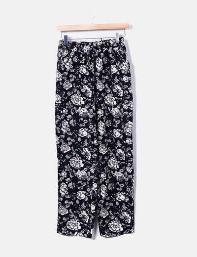 Pantalón negro floral Dabutong