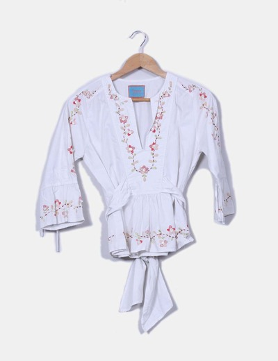 Top blanco con abalorios Flamenco