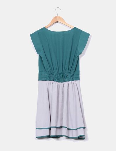 Vestido verde y gris