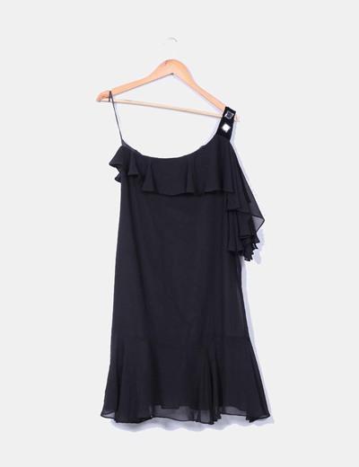 Vestido midi negro con volante detalle hombro  Zara