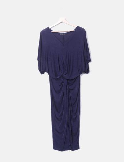 Vestido azul marino nudo escote pico SheIn