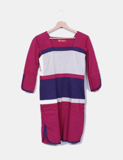 Vestido tricolor recto Amarti