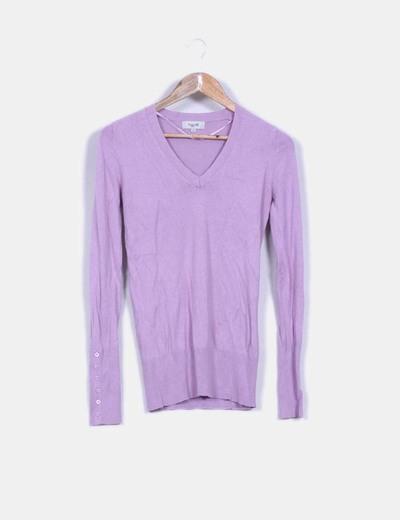 Jersey básico lila cuello pico Fórmula Joven