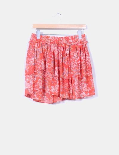Falda volantes coral estampada Zara
