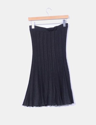 Falda midi negra con brillos
