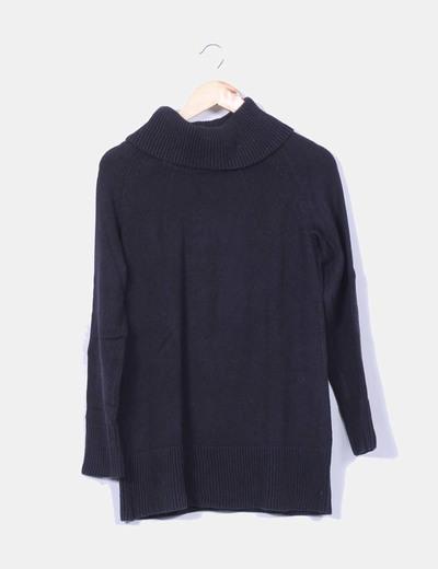 Jersey negro de punto cuello vuelto Liz Claiborne