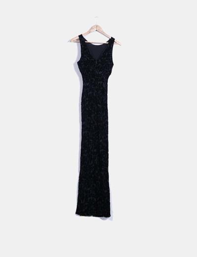 Maxi vestido negro con estampado aterciopelado