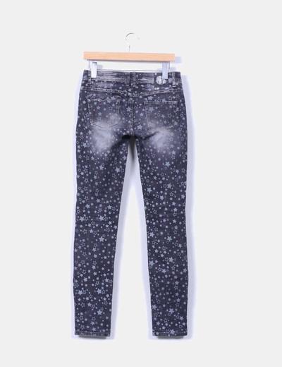 Pantalon denim gris print estrellas