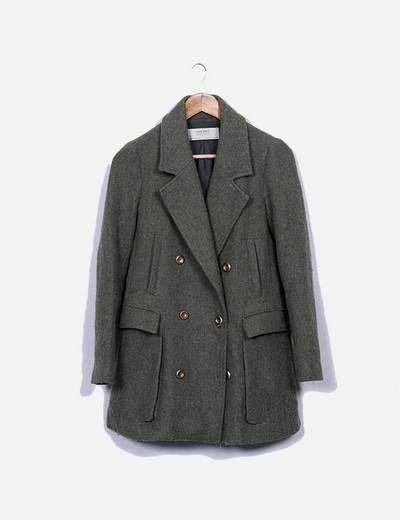 Abrigo largo verde Zara