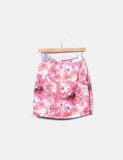 Falda floral texturizada