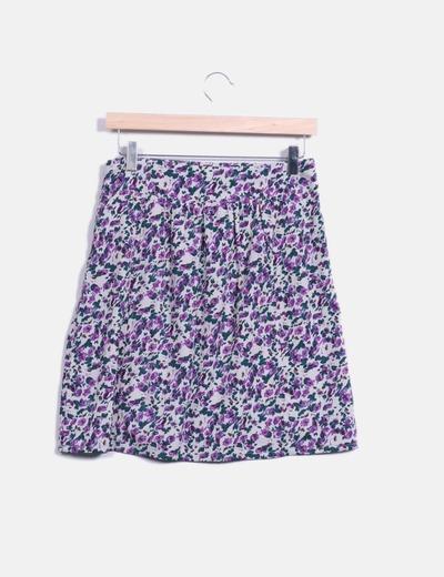 Mini falda floral en tonos morados