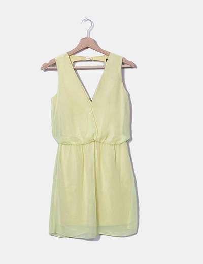 Vestido gasa amarillo Zara