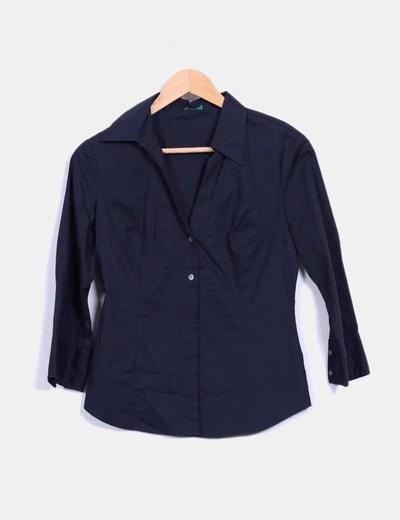 Camisa azul marino Benetton