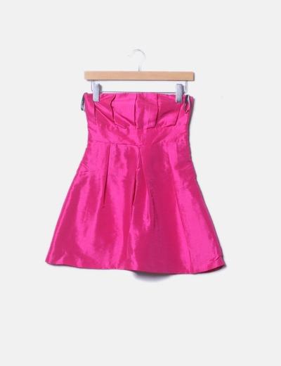 Vestido de fiesta palabra de honor rosa fucsia