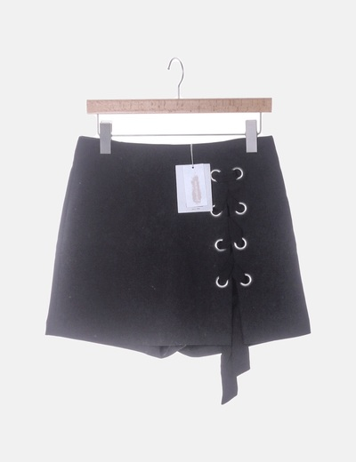 Falda pantalón lace up negro