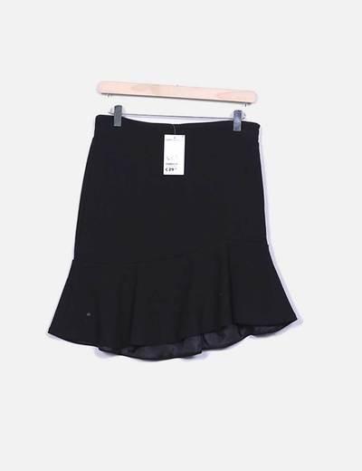 Falda midi negra con volante Suiteblanco