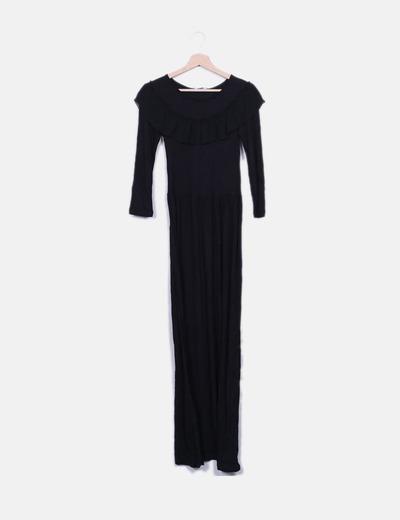 Maxi vestido negro con volante Suiteblanco