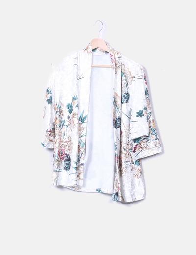 Kimono terciopelo print floral