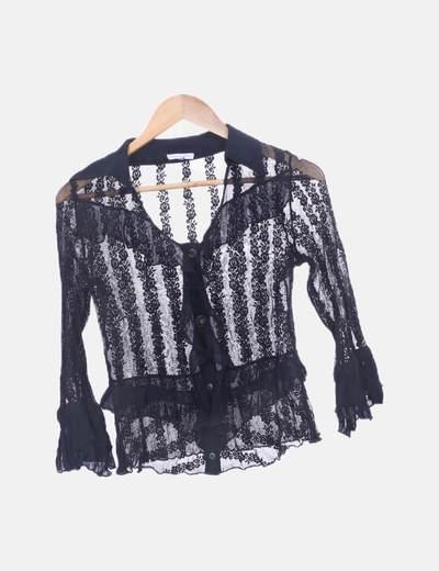 Camisa de encaje negra