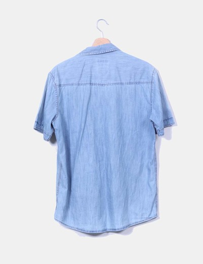 Camisa denim clara manga corta