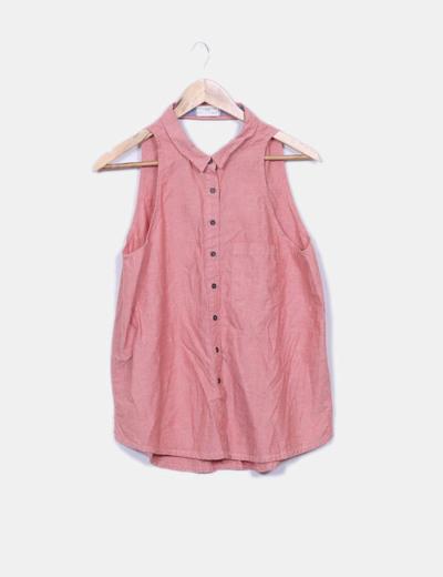 Camisa denim desgastado roja sin mangas Pull&Bear