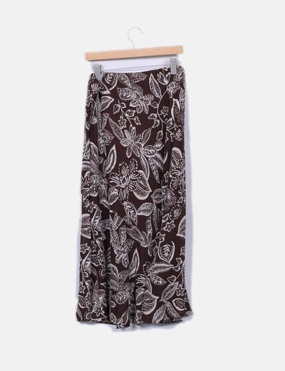 Falda maxi marron estampada