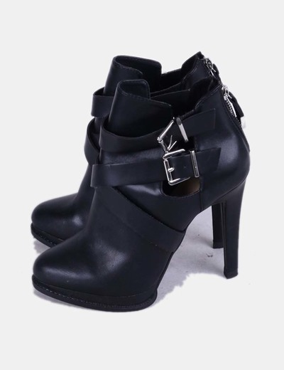 Botines negros con tiras Zara