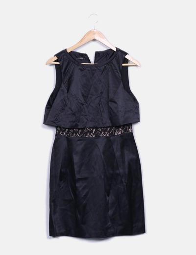 Vestido negro satinado detalle encaje
