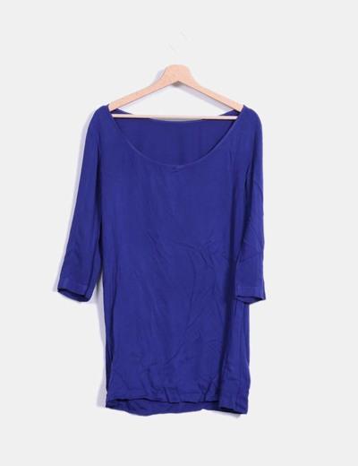 Vestido azul oscuro fluido de manga francesa