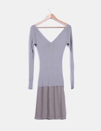 Vestido combinado gris