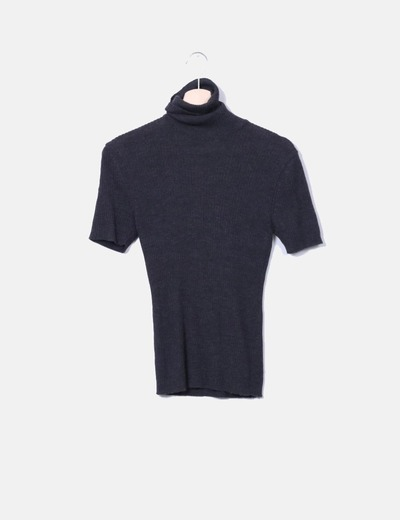 Top gris col roulé en tricot Cortefiel