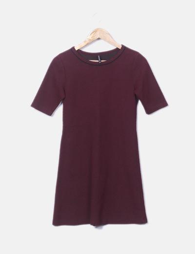 Vestido bicolor manga corta