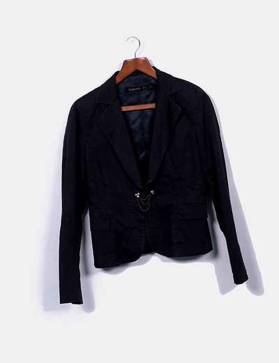Blazer noir à poches Bershka