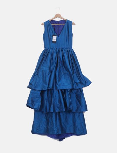 Vestido volantes azul petróleo irisado