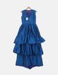 Vestido volantes azul petróleo irisado Matilde Cano