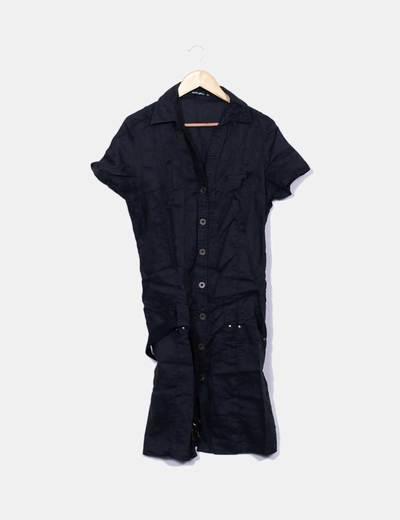 Vestido lino negro con cinturón Ada Gatti