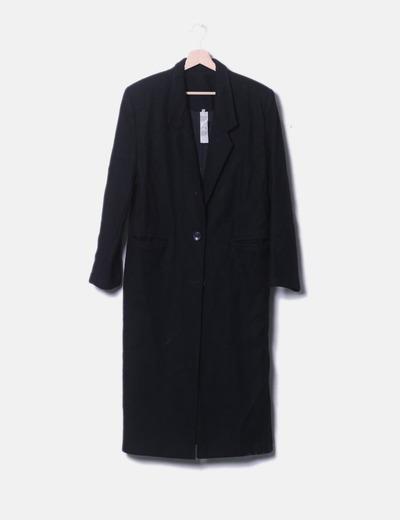Abrigo largo negro de lana
