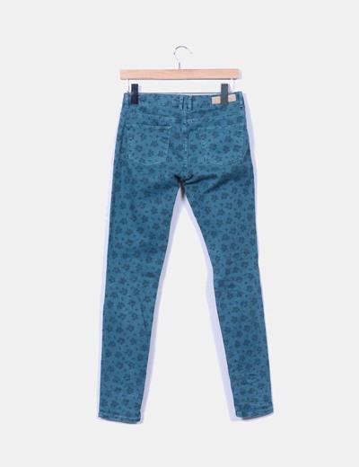 Pantalon verde floreado