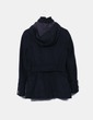 Abrigo de paño negro con capucha Zara
