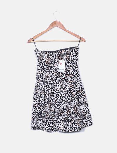 Vestido leopardo palabra de honor