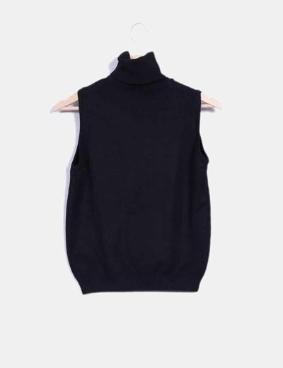 Top tricot negro de cuello alto