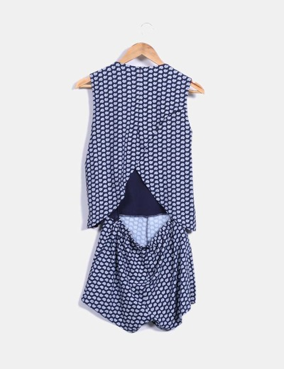 Vestido azul marino estampado doble capa