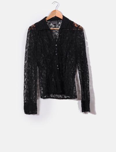 Camisa negra de encaje  Imitz