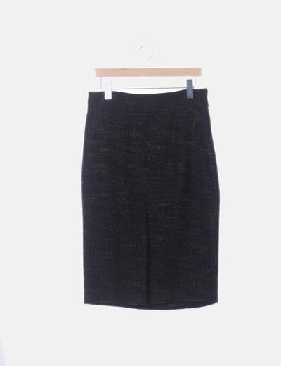Falda midi negra jaspeado glitter