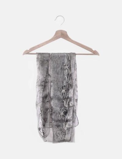 Foulard gasa gris bordado