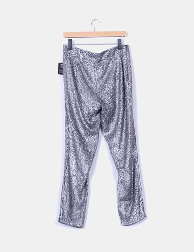 Pantalon pitillo lentejuelas plateadas