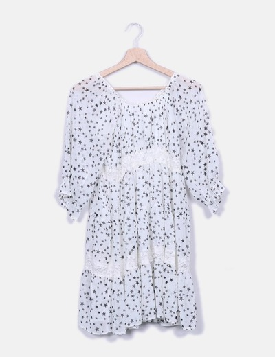 Vestido blanco estampado estrellas Yumi