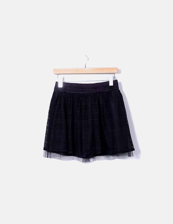 fbc8a0d4f encaje Faldas baratas online negra Mini Bershka falda AH6HxP ...