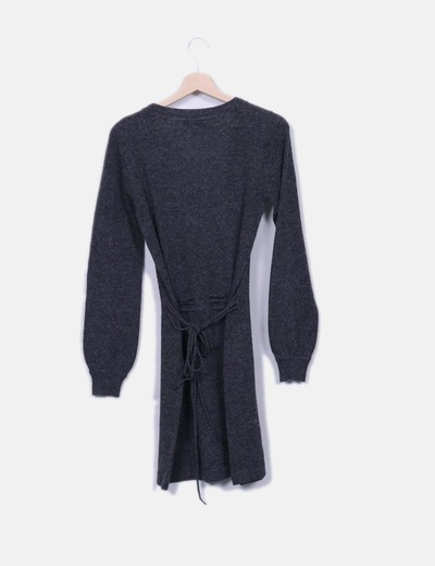 Vestido tricot gris detalle lazo
